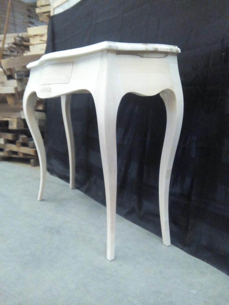 Consolle tavolino ingresso in legno grezzo con 1 cassetto sagomata