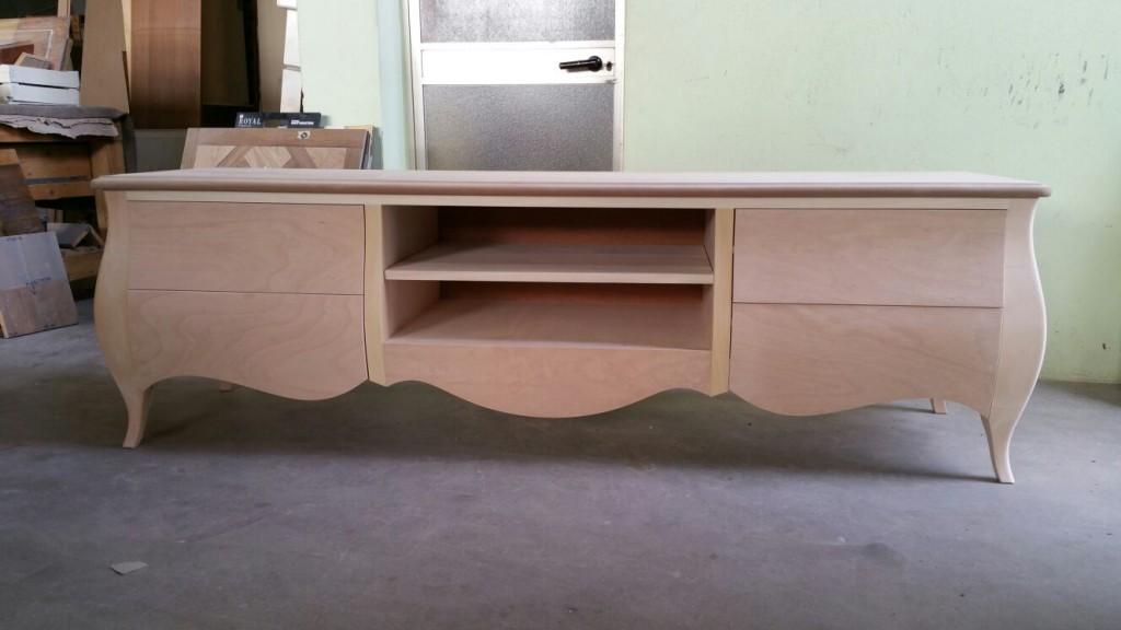 Porta tv mobile soggiorno salotto bombato legno massello - Soggiorno legno massello ...