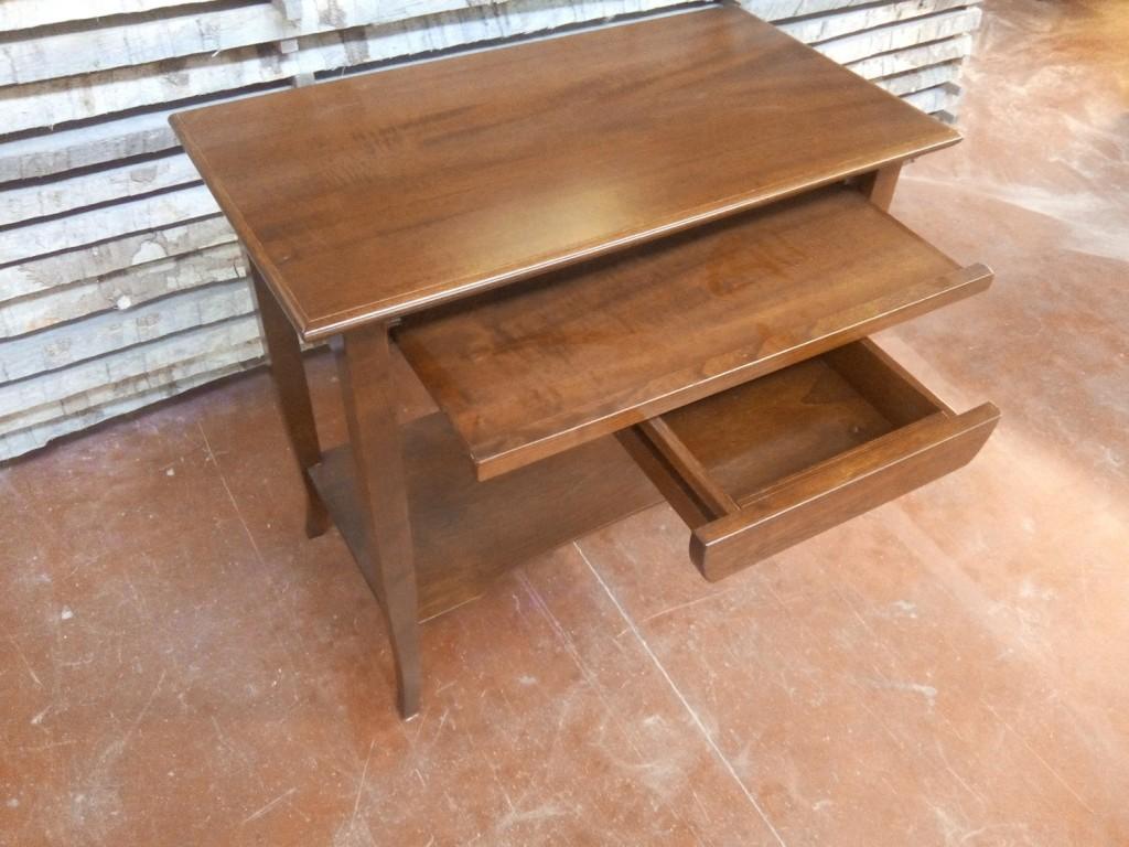 Porta pc computer scrivania scrittoio in legno massello laccato noce