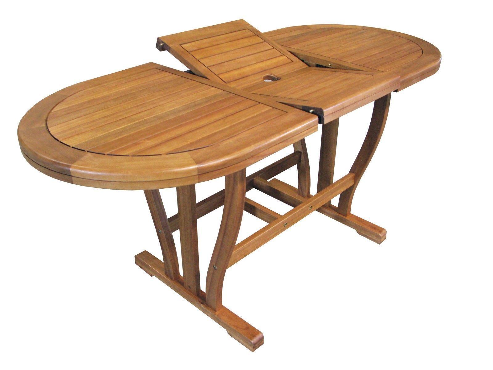 Tavolo ovale apribile esterno giardino in legno di acacia for Tavolo legno esterno