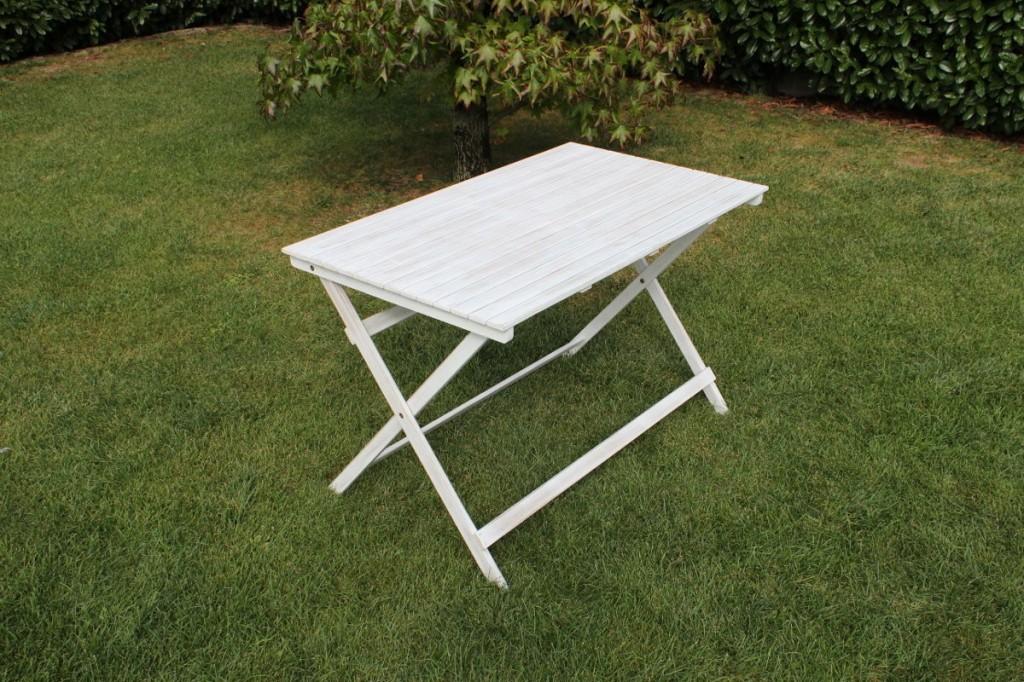Tavolo Pieghevole Bianco : Tavolo pieghevole esterno giardino bianco in legno di acacia massiccio
