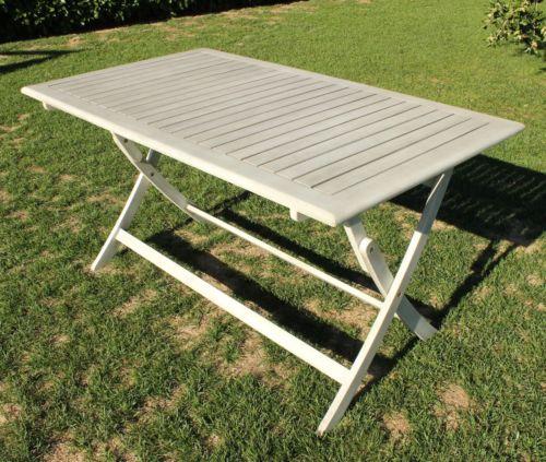 Tavolo pieghevole esterno bianco antico in legno di acacia - Tavolo esterno pieghevole ...
