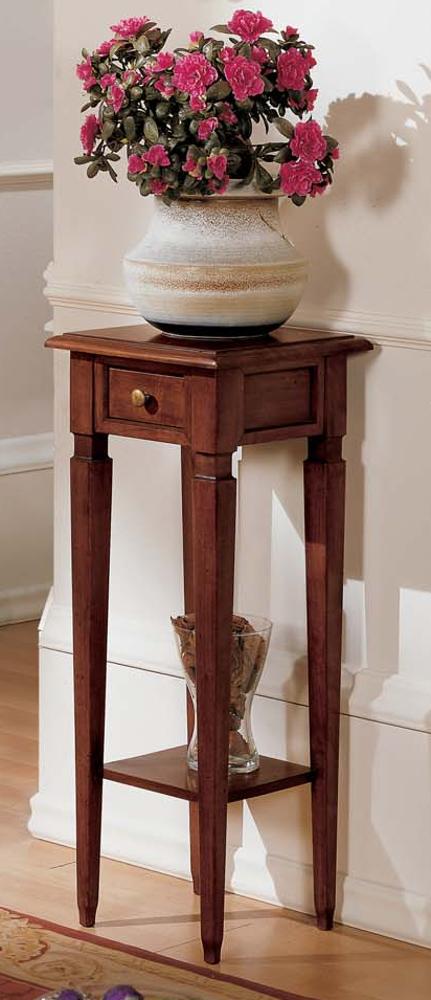Portafiori con 1 cassetto e gamba spillo colore noce scuro in legno