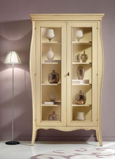 Vetrina libreria mobile soggiorno legno 2 ante a vetro 5 for Vetrina soggiorno