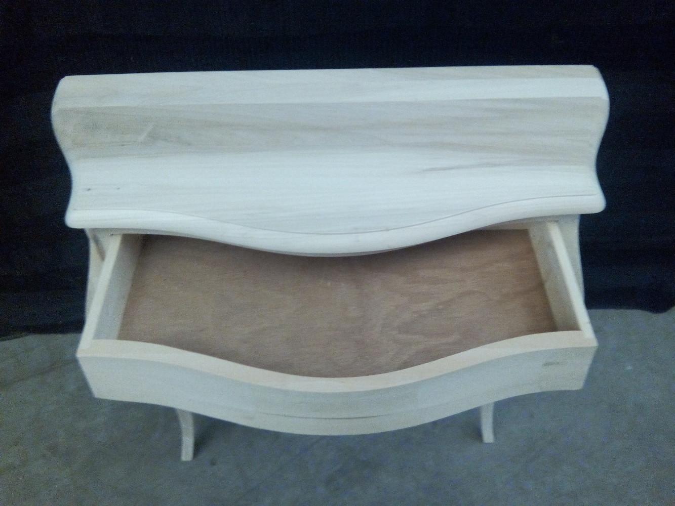 Consolle sagomata tavolino ingresso in legno grezzo 1 cassetto