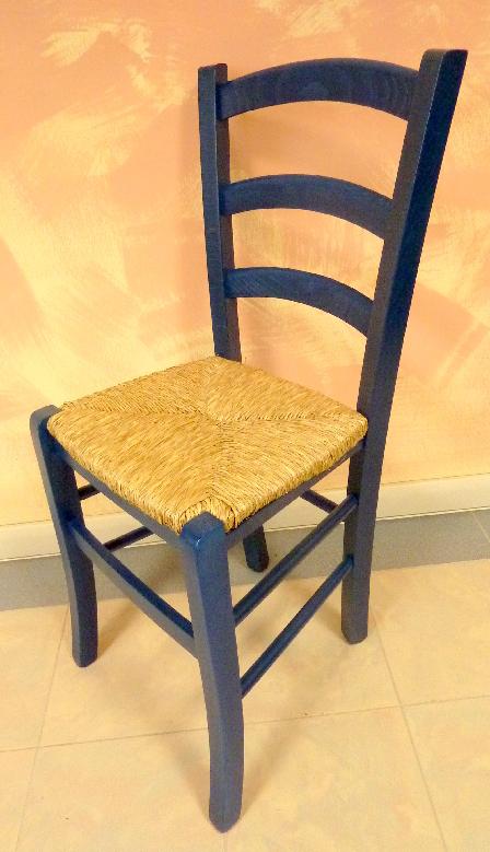 Sedia in legno massello per la cucina sala da pranzo bar colore blu